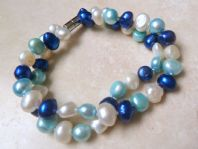 Double Row Blue And White Freshwater Pearl Bracelet.